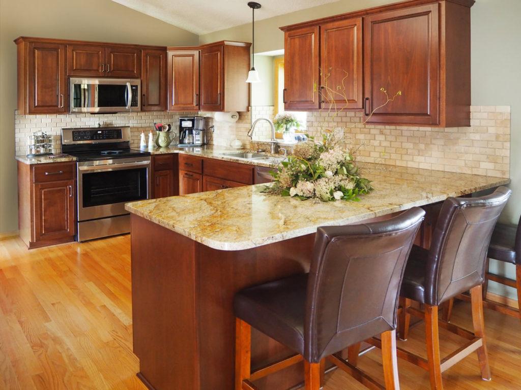 1-Natural Birch Raised Panel Refacing Granite Countertops
