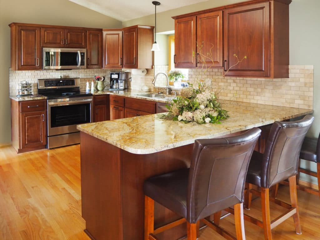 1-Natural Birch Raised Panel Refacing Granite Countertops