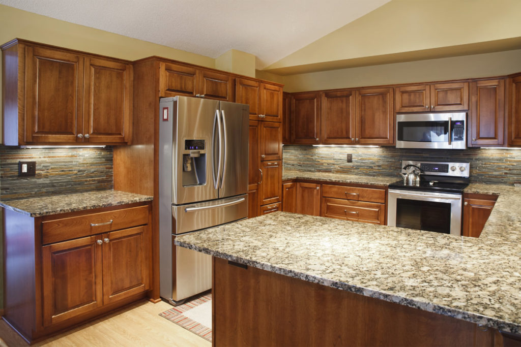 10-Natural Birch Raised Panel Refacing Granite Countertops