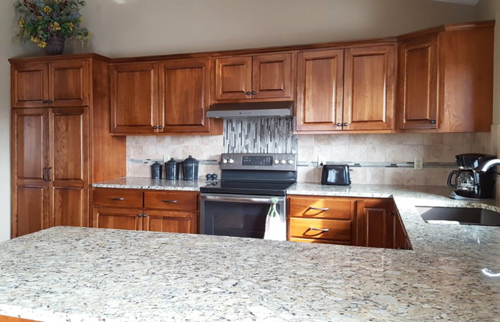 15-Natural Birch Raised Panel Refacing Granite Countertops