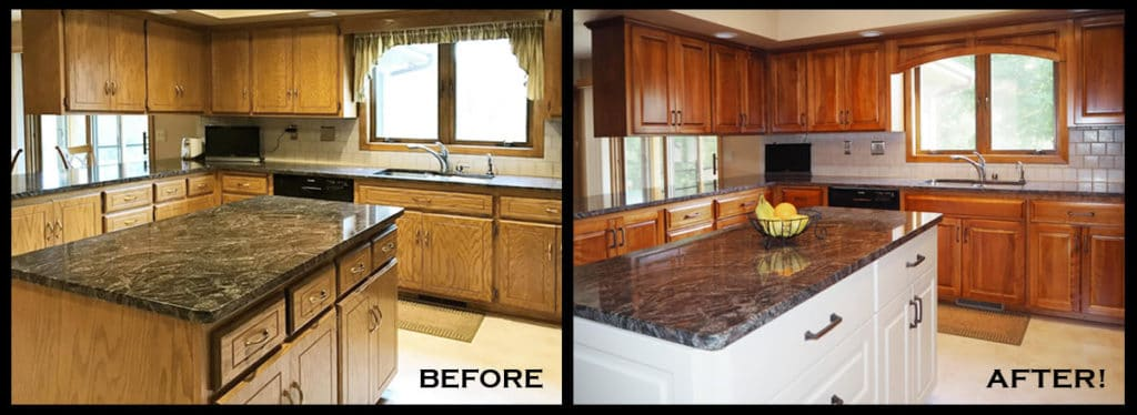 Home jewel cabinet refacing for Refinishing kitchen cabinets before and after