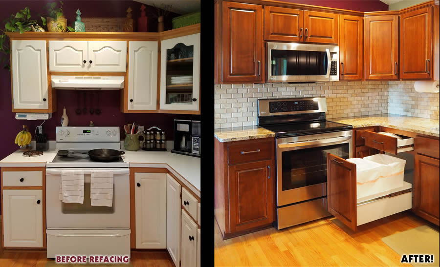 jewel cabinet refacing 57 Snyder Stove Wall, Before and After web