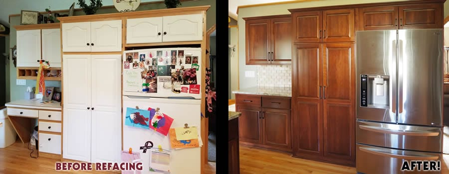 jewel cabinet refacing 59 Snyder Fridge Wall Before and After web