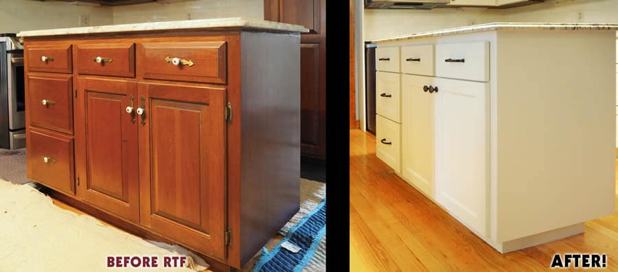 jewel cabinet refacing66 White RTF Island Before and After web
